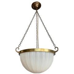 Stunning Early 20th Century American Glass & Brass Pendant Marked Jefferson 482