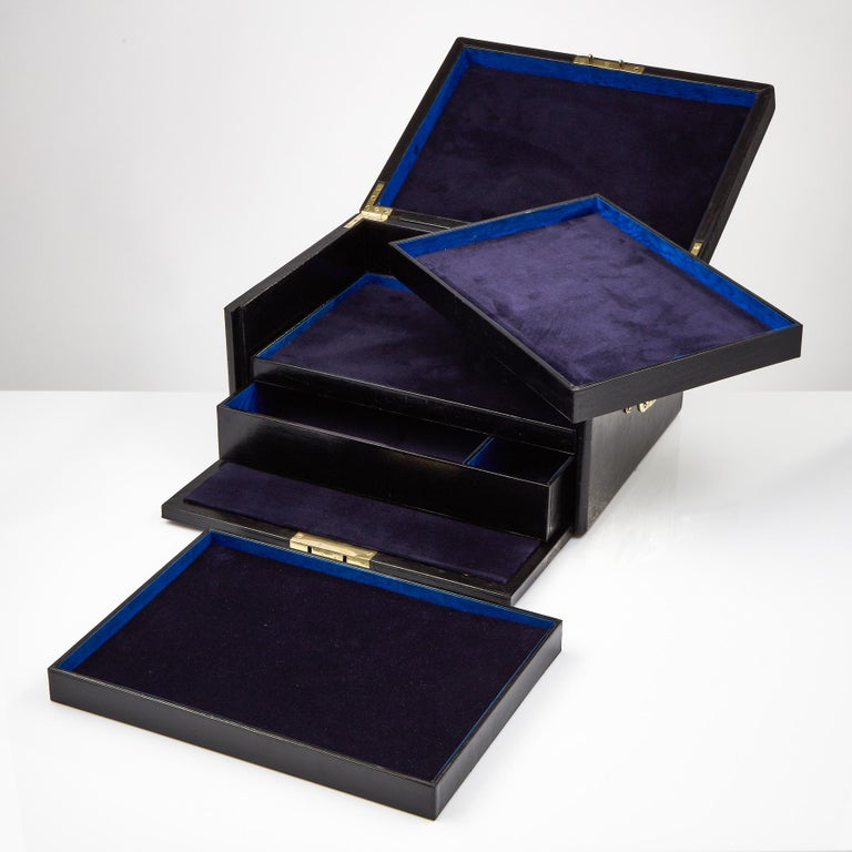 English Early 20th Century Black Leather Document Box, circa 1910 For Sale