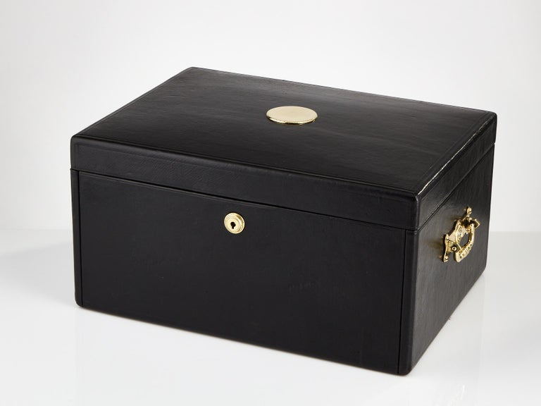 Early 20th Century Black Leather Document Box, circa 1910 In Good Condition For Sale In London, GB