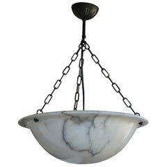 Stunning Early 20th Century Clear White and Black Veins Alabaster Pendant Light