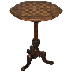 Stunning Early Victorian 19th Century circa 1840 Burr Walnut Chess Games Table