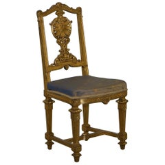 Stunning Early Victorian Gold Giltwood Chair with Ornately Carved Crested Back