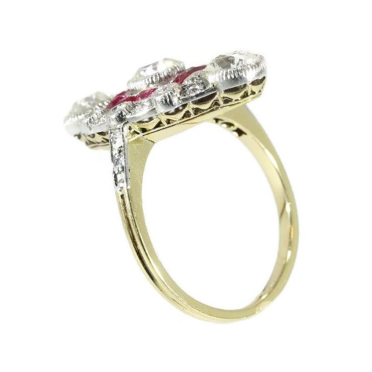 Stunning Edwardian Diamond and Ruby Engagement Ring, 1910s For Sale 1