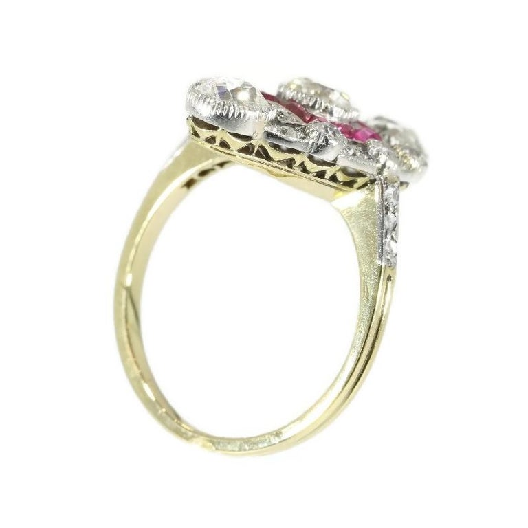 Stunning Edwardian Diamond and Ruby Engagement Ring, 1910s For Sale 2
