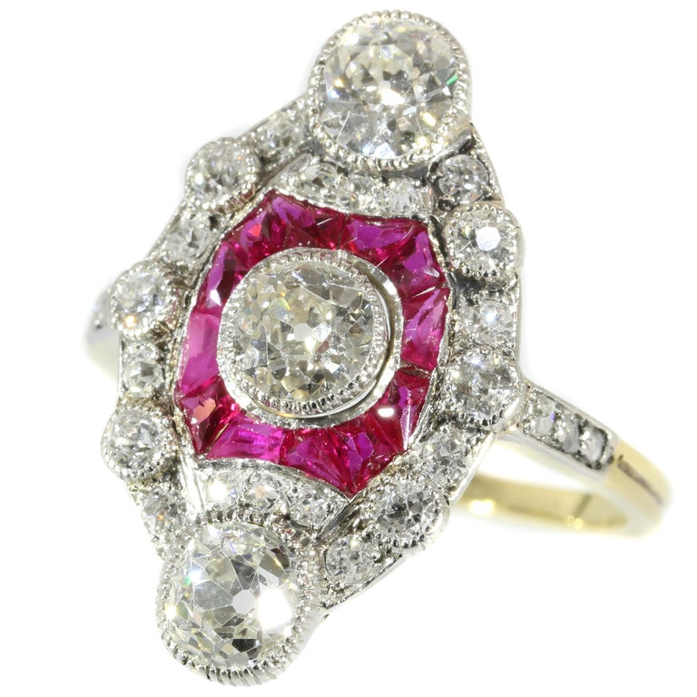 Stunning Edwardian Diamond and Ruby Engagement Ring, 1910s For Sale