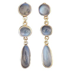 Stunning Edwardian Gold and Moonstone Drop Earrings