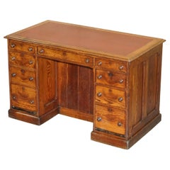 Stunning Edwardian Pine Knee Hole Desk with Bookcase Back Oxblood Leather Top