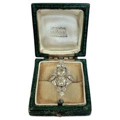 Stunning Elongated Platinum Art Deco Diamond Ring