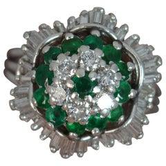 Stunning Emerald and 1.25 Carat Diamond 18 Carat Gold Ballerina Cluster Ring