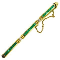 Stunning Emerald-Diamond Tennis Bracelet, 2.60 Carat 14 Karat