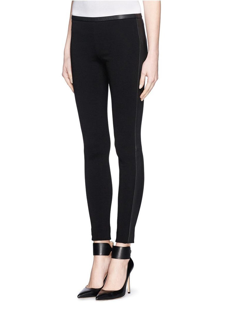 Stunning Emilio Pucci Black Stretch Leggings Pants with Leather Trimming In Good Condition For Sale In Switzerland, CH