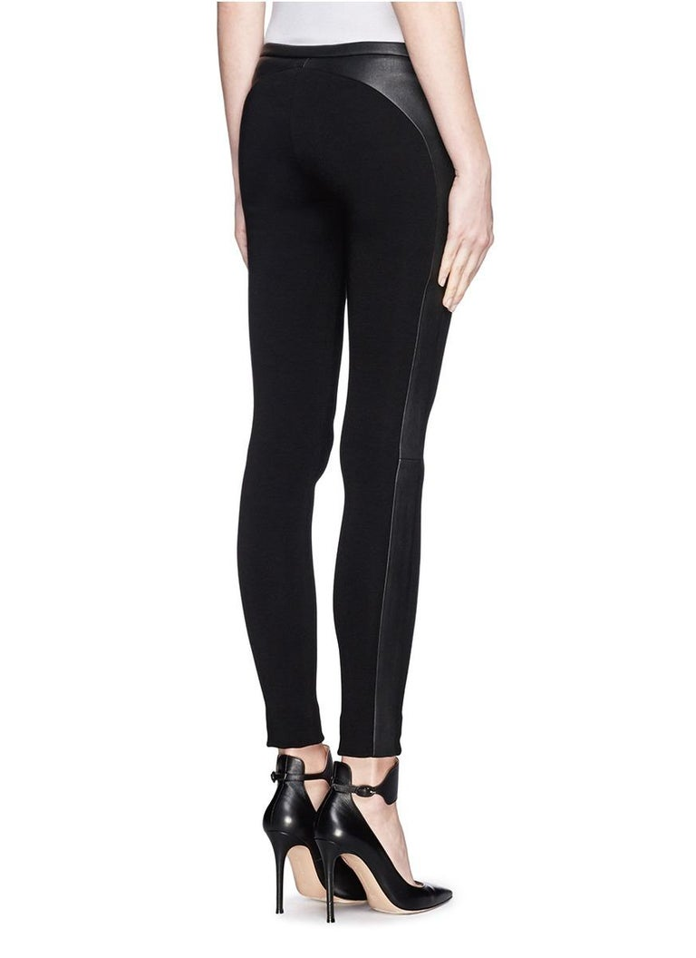 Women's Stunning Emilio Pucci Black Stretch Leggings Pants with Leather Trimming For Sale