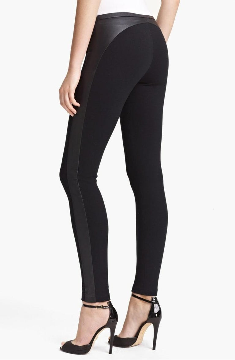Stunning Emilio Pucci Black Stretch Leggings Pants with Leather Trimming For Sale 2