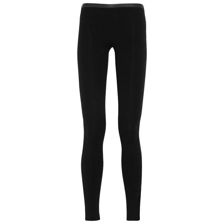 Stunning Emilio Pucci Black Stretch Leggings Pants with Leather Trimming For Sale