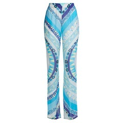 NEW Emilio Pucci Blue Signature Print Organza Silk Palazzo Wide Leg Pants