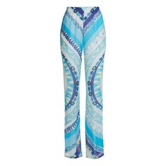 Stunning Emilio Pucci Blue Signature Print Organza Silk Pants