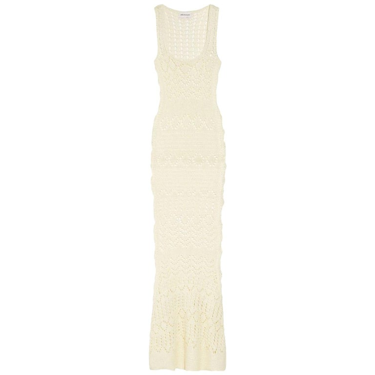 NEW Emilio Pucci by Peter Dundas Studded Ivory Crochet Knit Maxi Dress Gown For Sale