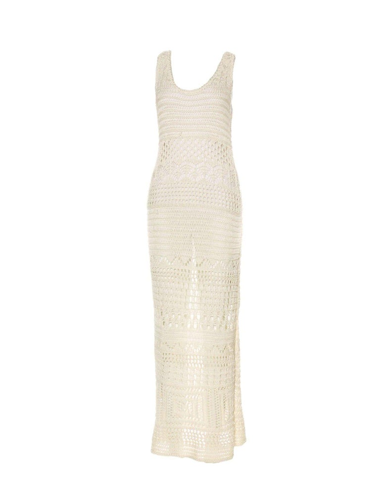 Emilio Pucci Ivory Crochet Knit Maxi Dress Gown  Sold Out Immediately     Details: Exclusive and gorgeous EMILIO PUCCI crochet knit gown Sleeveless Off-white crochet-knit cotton Full length Simply slips on Dry clean Only Made in Italy See campaign