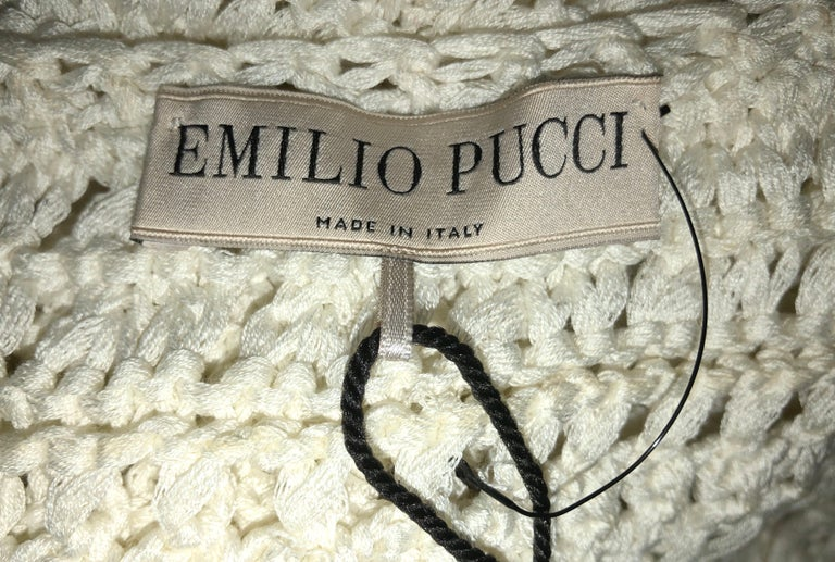NEW Emilio Pucci Ivory Crochet Knit Maxi Dress Gown In Excellent Condition For Sale In Switzerland, CH