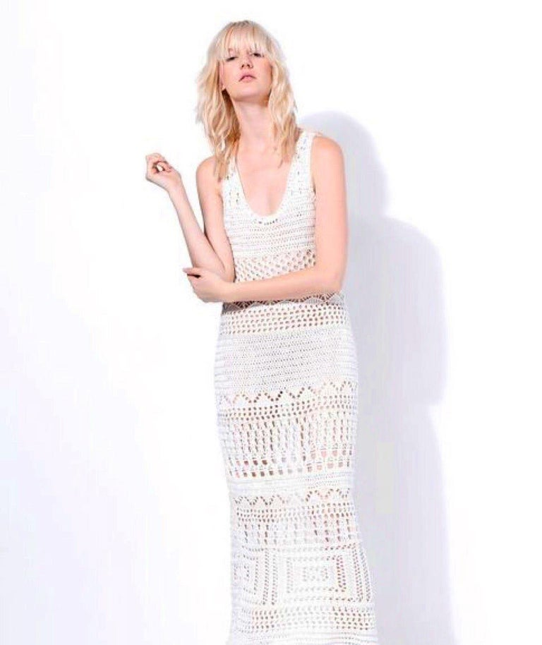 Women's NEW Emilio Pucci Ivory Crochet Knit Maxi Dress Gown For Sale