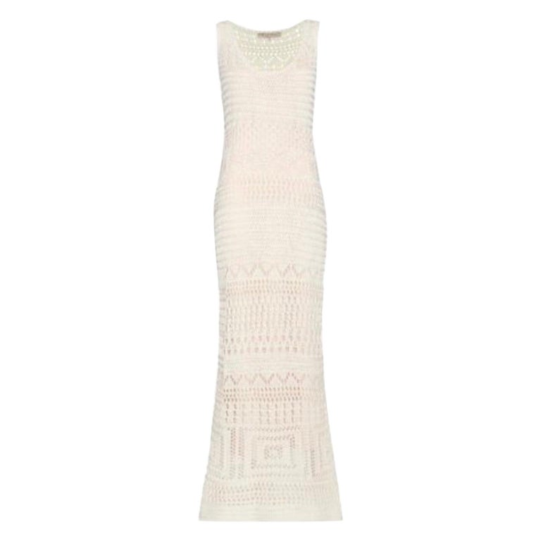 Stunning Emilio Pucci Ivory Crochet Knit Dress Evening Gown For Sale