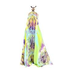 Stunning Emilio Pucci Signature Print Embellished Neckholder Maxi Dress Gown