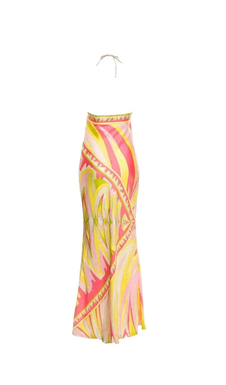 BEAUTIFUL   EMILIO PUCCI PASTEL SIGNATURE PRINT GOWN  A timeless EMILIO PUCCI gown that will never go out of style!  AS WORN BY SUPERSTAR JENNIFER LOPEZ
