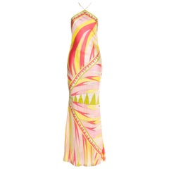 Stunning Emilio Pucci Signature Print Evening Dress Gown