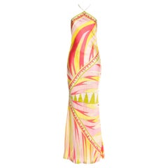 Stunning Emilio Pucci Signature Print Maxi Neckholder Open Back Evening Dress