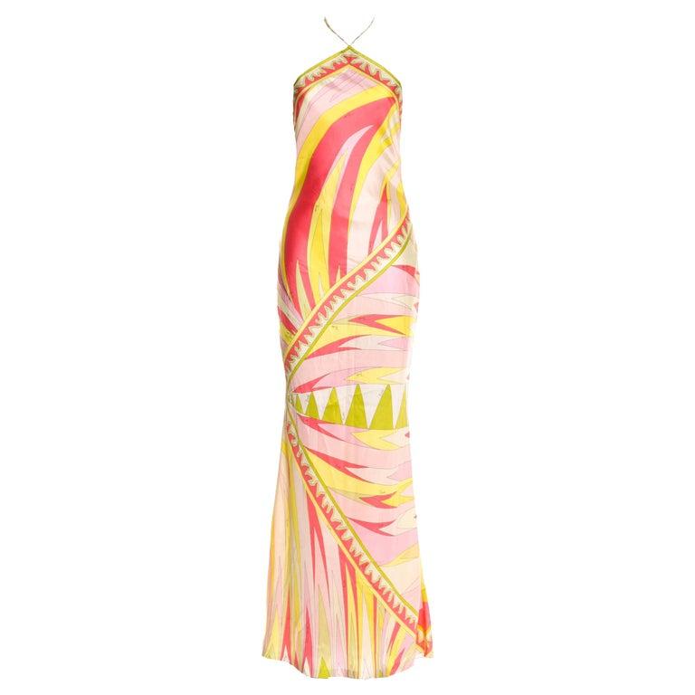 Stunning Emilio Pucci Signature Print Maxi Neckholder Open Back Evening Dress For Sale