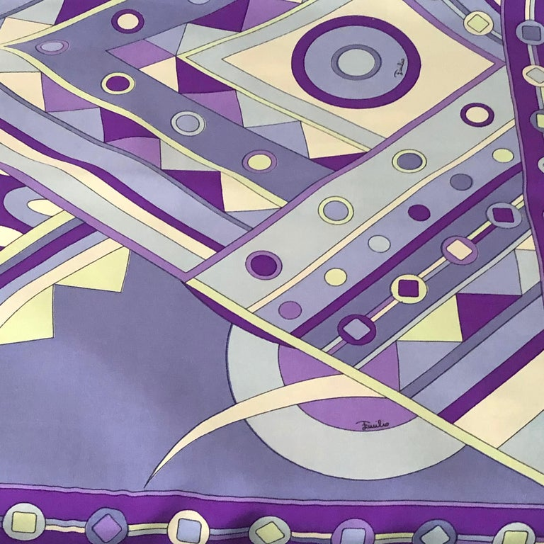 Stunning Emilio Pucci Silk Scarf with Geometric Pattern in Blues and Purples 7