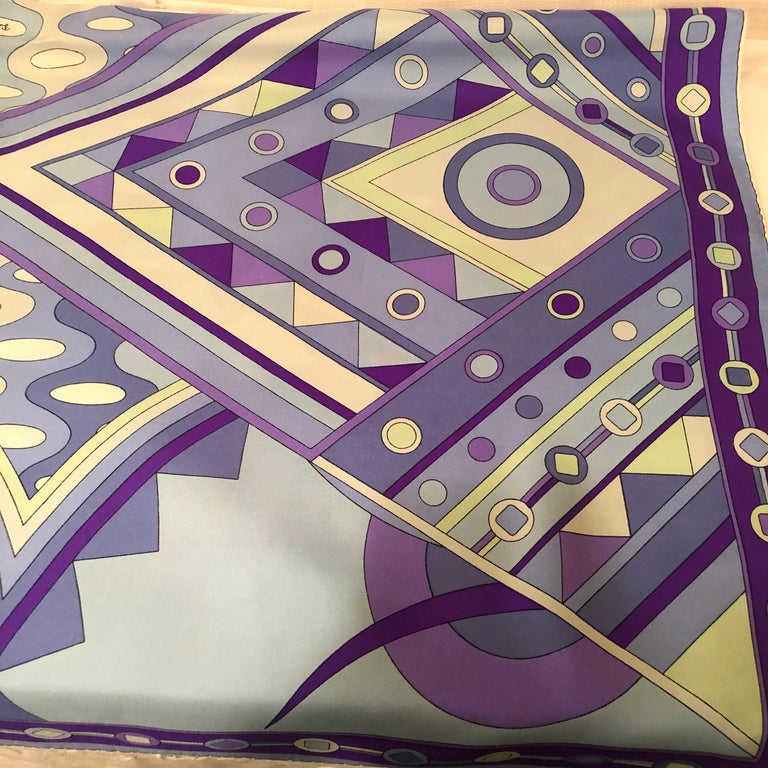 Stunning Emilio Pucci Silk Scarf with Geometric Pattern in Blues and Purples 8