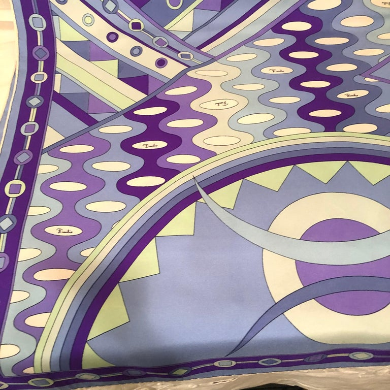 Stunning Emilio Pucci Silk Scarf with Geometric Pattern in Blues and Purples 9