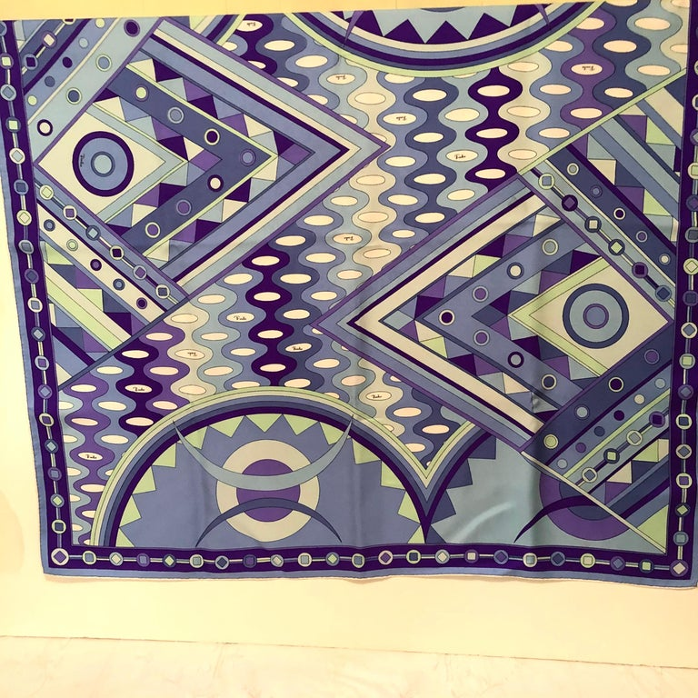 Italian Stunning Emilio Pucci Silk Scarf with Geometric Pattern in Blues and Purples
