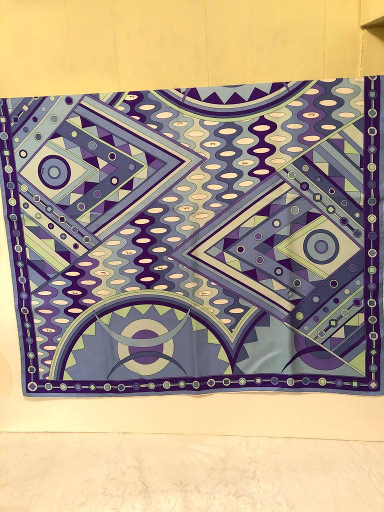 Other Stunning Emilio Pucci Silk Scarf with Geometric Pattern in Blues and Purples