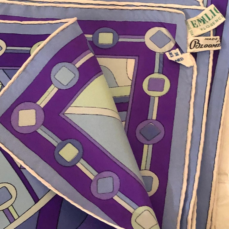 Stunning Emilio Pucci Silk Scarf with Geometric Pattern in Blues and Purples In Good Condition In Boston, MA