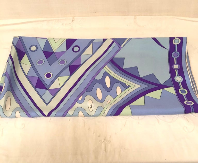 Late 20th Century Stunning Emilio Pucci Silk Scarf with Geometric Pattern in Blues and Purples
