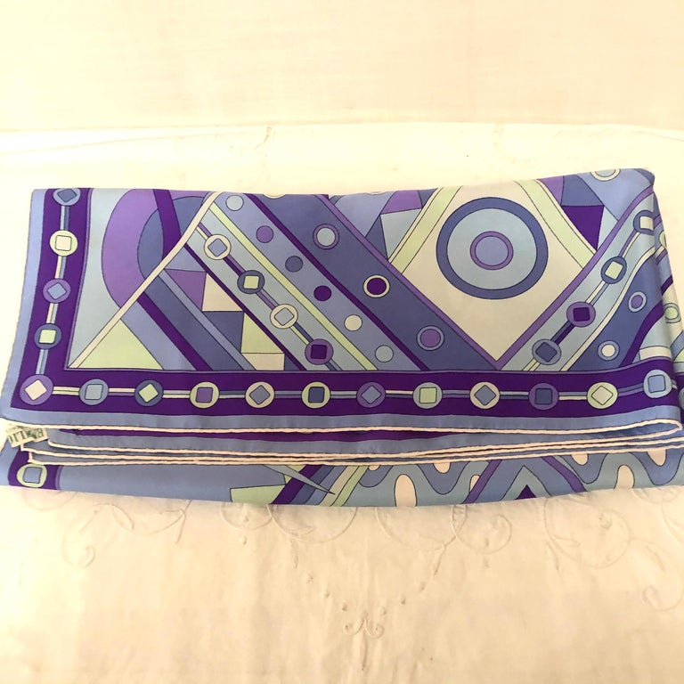 Stunning Emilio Pucci Silk Scarf with Geometric Pattern in Blues and Purples 1