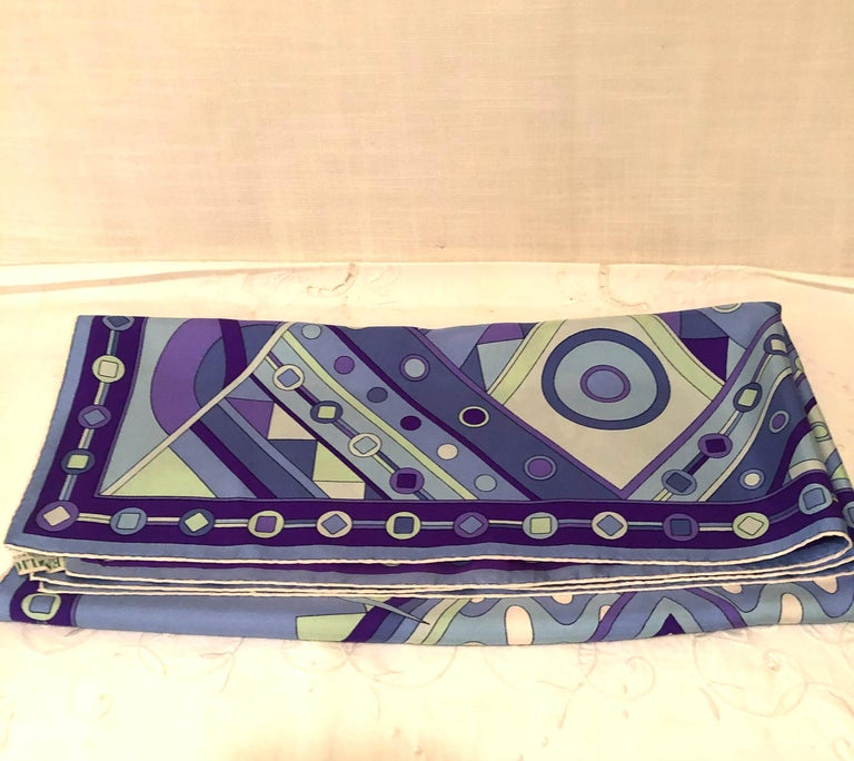 Stunning Emilio Pucci Silk Scarf with Geometric Pattern in Blues and Purples 2