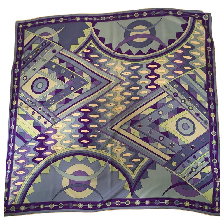 Stunning Emilio Pucci Silk Scarf with Geometric Pattern in Blues and Purples