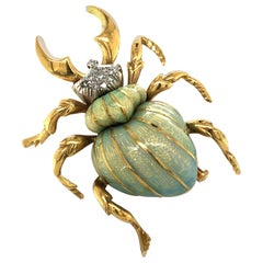 Stunning Enamel and Diamond Beetle Brooch in 18 Karat Yellow and White Gold