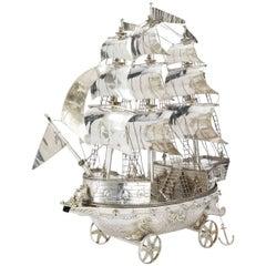 "Stunning, English Sterling Silver Neff, 'Sailing Ship', Fine Detail. 26"" Tall"