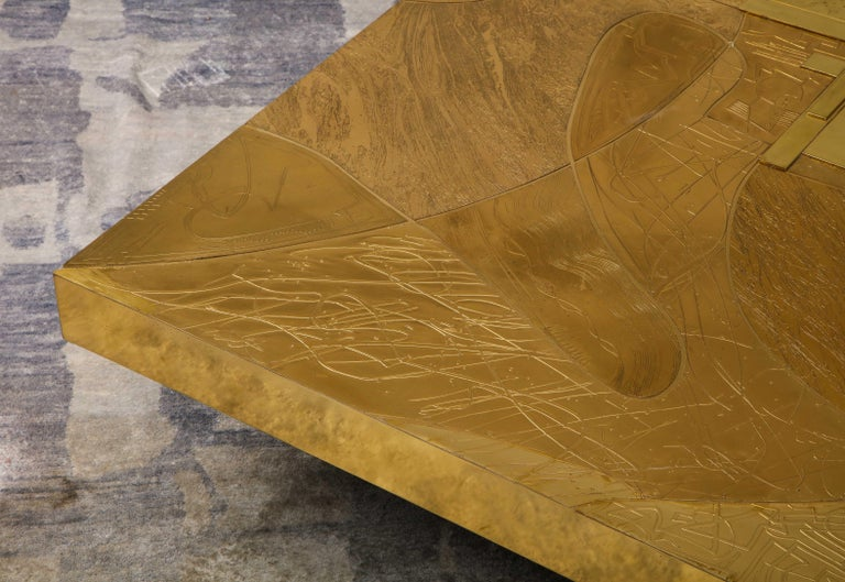 Stunning Etched Brass and Double Agate Cocktail Table For Sale 5