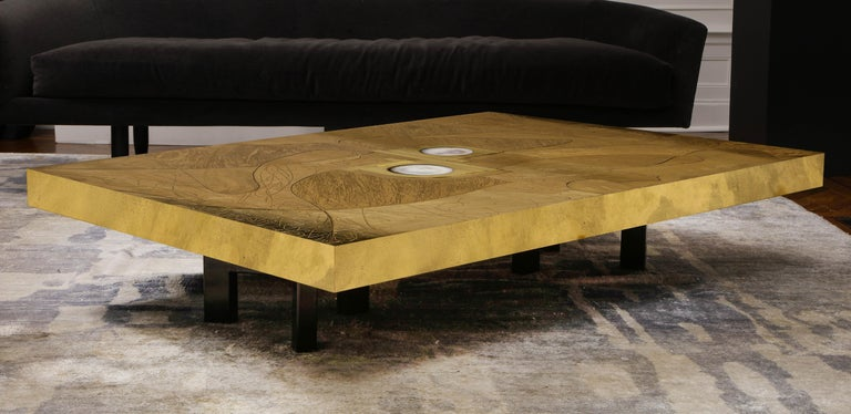 Mid-Century Modern Stunning Etched Brass and Double Agate Cocktail Table For Sale