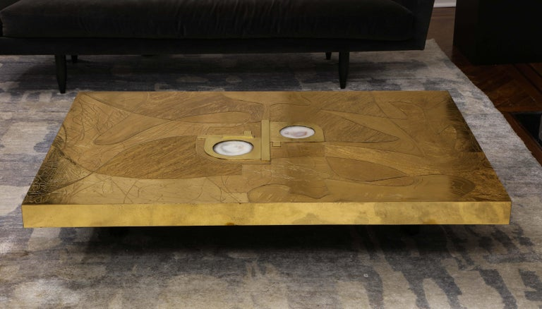 American Stunning Etched Brass and Double Agate Cocktail Table For Sale