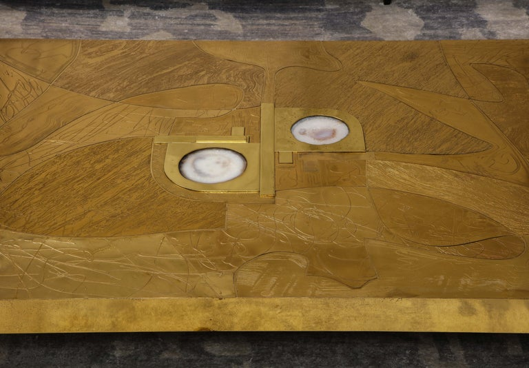 Contemporary Stunning Etched Brass and Double Agate Cocktail Table For Sale