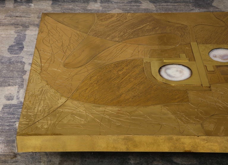 Stunning Etched Brass and Double Agate Cocktail Table For Sale 1