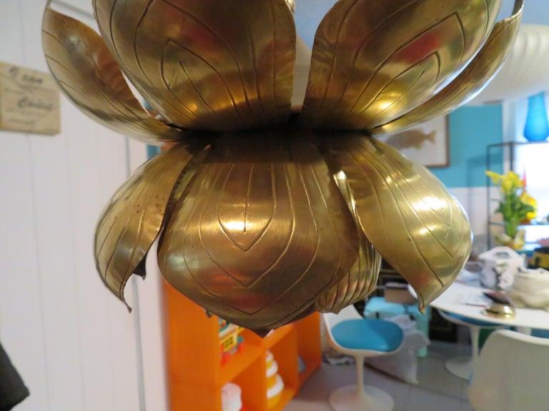 Late 20th Century Stunning Etched Brass Feldman Lotus Pendant Light Chandelier Mid-Century Modern For Sale