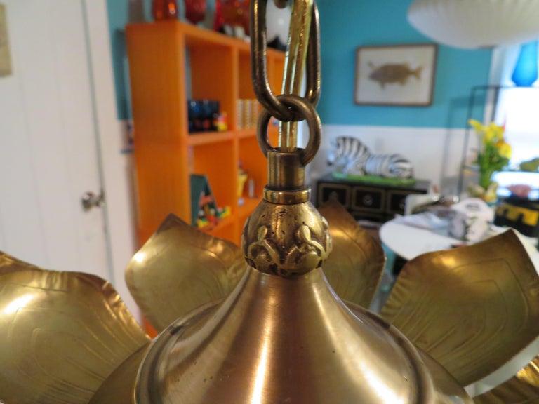 Stunning Etched Brass Feldman Lotus Pendant Light Chandelier Mid-Century Modern For Sale 1