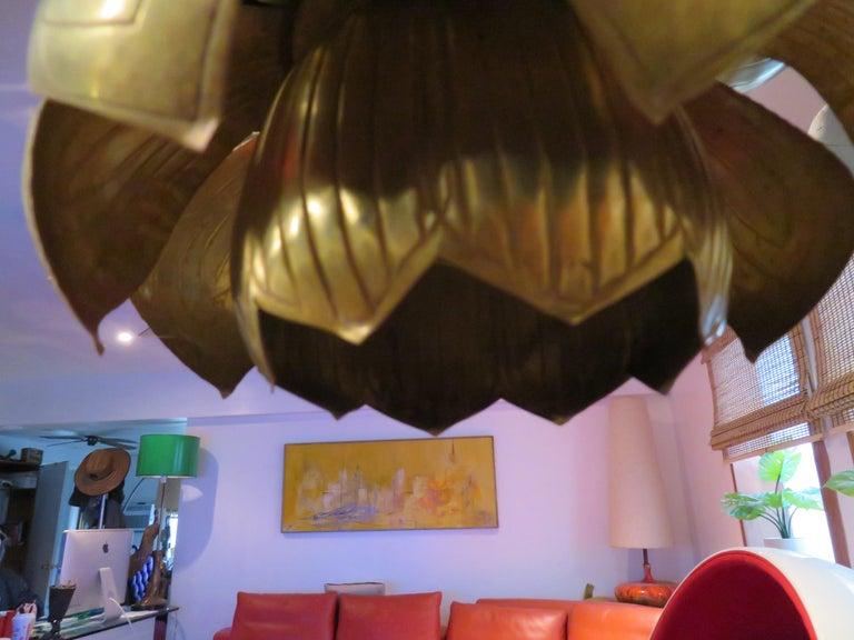 Stunning Etched Brass Feldman Lotus Pendant Light Chandelier Mid-Century Modern For Sale 2